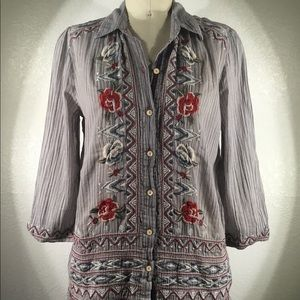 NWT 3J Johnny Was Embroidered Button Up Sz S